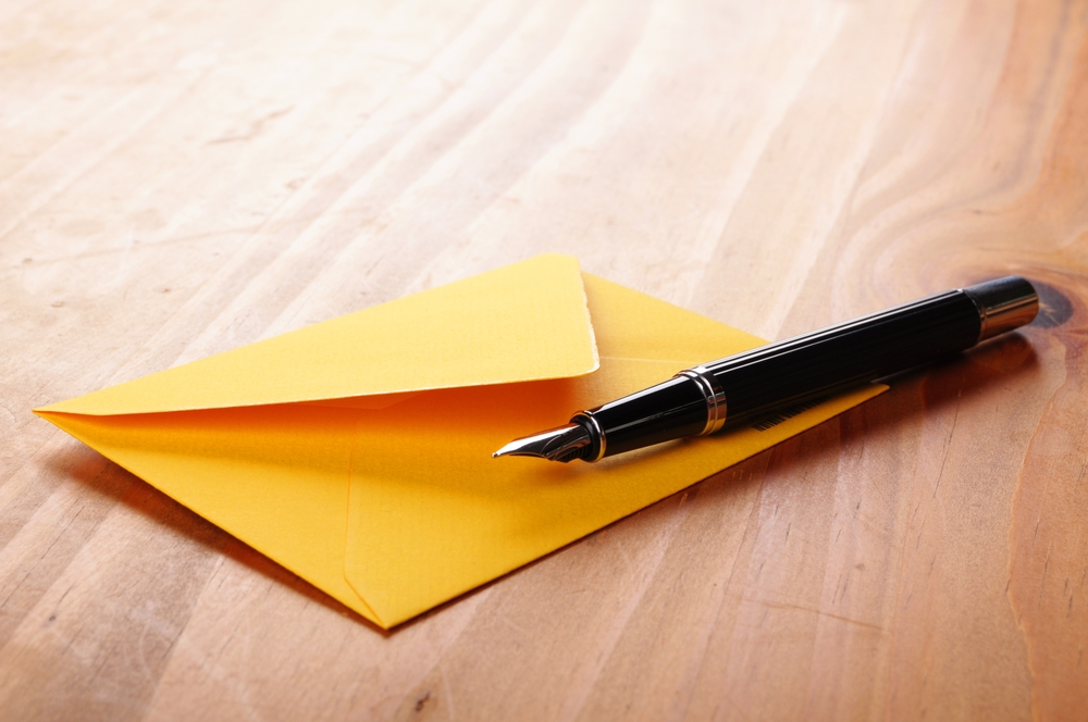 snail mail with pen
